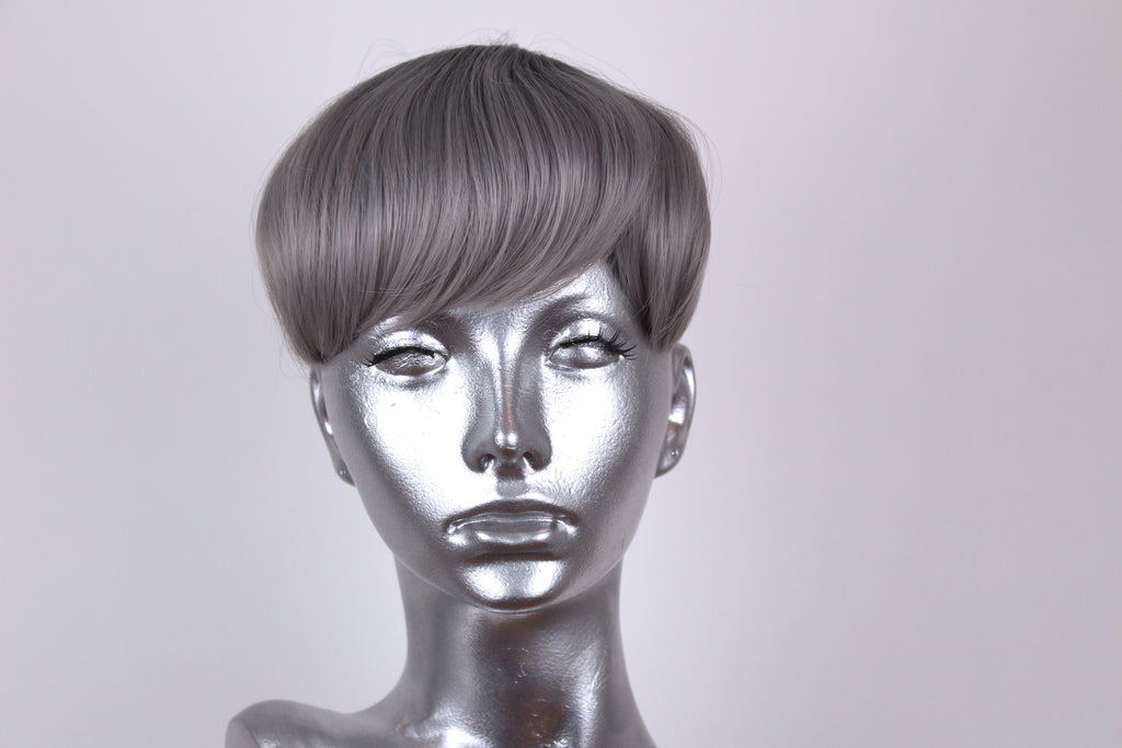 Clip On Bangs- Rooted Steel Grey