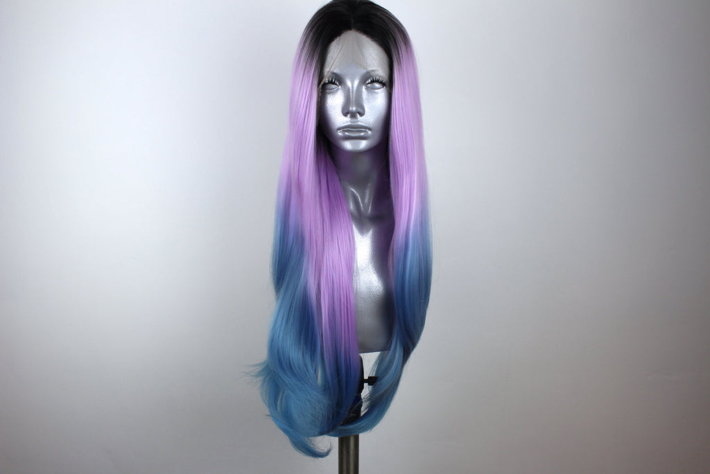 Amy- Rooted Lavender And Ocean Blue Dip Dye