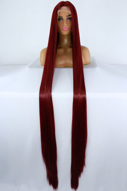 "65"" Burgundy Red Lacefront Wig"