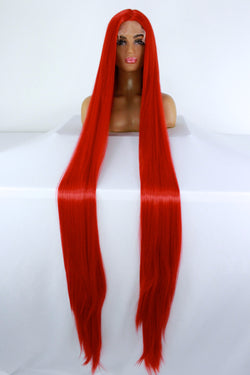"65"" Bright Red Lacefront Wig"