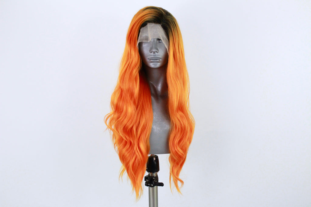 Limited Edition Rooted Electric Orange Wig