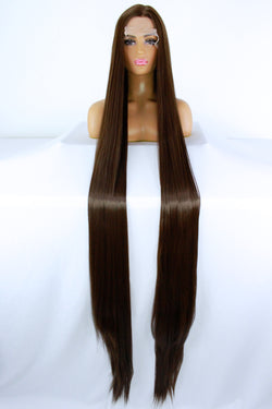"65"" Chocolate Brown Lacefront Wig"