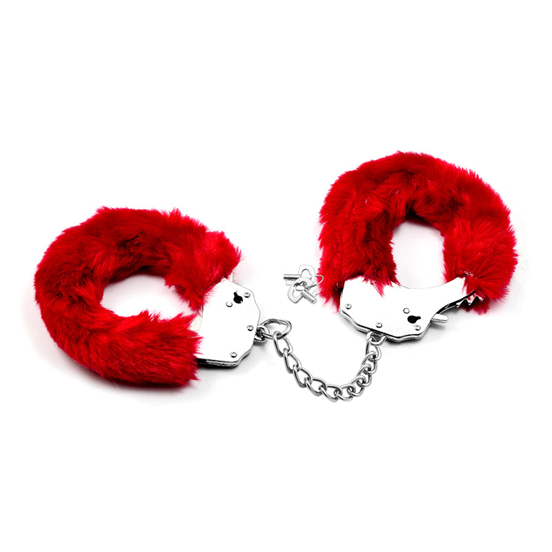 Fetish Pleasure Fluffy Hand Cuffs Red