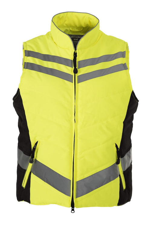 Equisafety Hi Vis padded gilet yellow