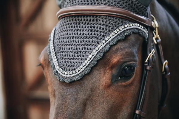 Kentucky Horsewear Fly Veil Long Stone & Pearl