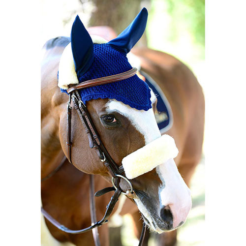 Kentucky Horsewear sheepskin noseband natural white
