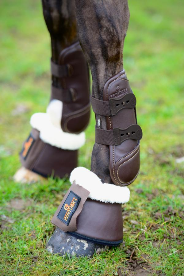 Kentucky Horsewear Leather Overreach Boots Brown