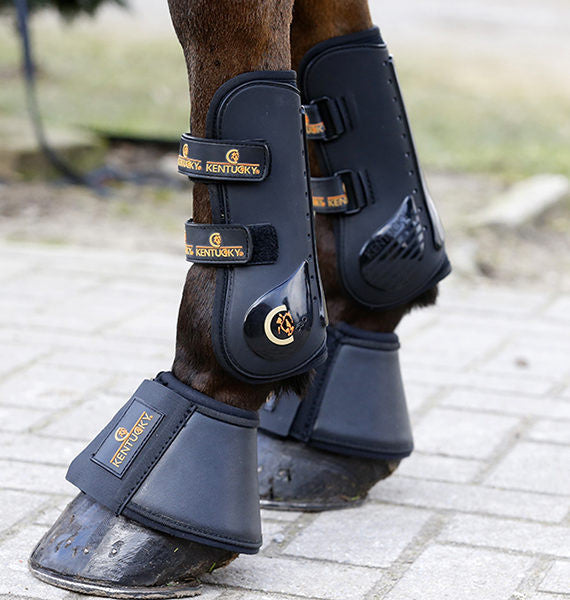 Kentucky horsewear leather overreach boot. Free UK delivery