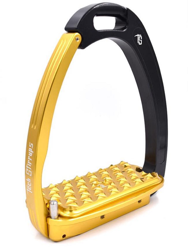 Tech Stirrups Venice Sloped Black and Gold