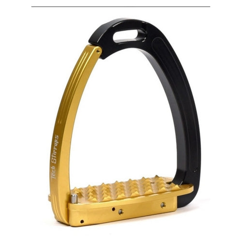 Tech stirrups venice gold and black safety stirrup from Equissimo