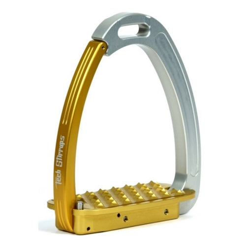 Tech stirrups venice gold and silver safety stirrup from Equissimo