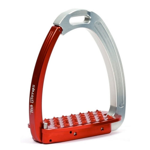 Tech stirrups venice red and silver safety stirrup from Equissimo