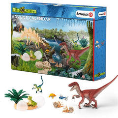 Exclusive Dinosaurs Advent Calendar  Schleich 97152  Introduced: 2016; Retired: 2016  Include Exclusive: Velociraptor, Young velociraptor and T-Rex young, Yellow frog, Flying fish, and Ammonite.