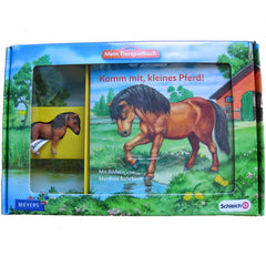 Falabella  Schleich 82816   Introduced: 2012; Retired: 2012  In 2012 Schleich provided animals for a cooperative children's book series called Mein Tierspielbuch produced with the publishing company Meyer.