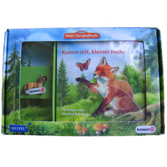 Fox Kit  Schleich 82818  Introduced: 2012; Retired: 2012  In 2012 Schleich provided animals for a cooperative children's book series called Mein Tierspielbuch produced with the publishing company Meyer.