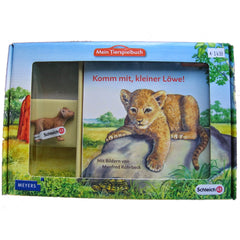 Lion Cub  Schleich 82822   Introduced: 2012; Retired: 2012  In 2012 Schleich provided animals for a cooperative children's book series called Mein Tierspielbuch produced with the publishing company Meyer.