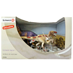 Schleich Dinosaur Scenery Pack  Schleich 41376   Introduced: 2014; Retired: 2014  Special Edition Velociraptor and Allosaurus  Released by Müller Germany Only