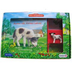 White and Black Lamb  Schleich 82814   Introduced: 2012; Retired: 2012  In 2012 Schleich provided animals for a cooperative children's book series called Mein Tierspielbuch produced with the publishing company Meyer.