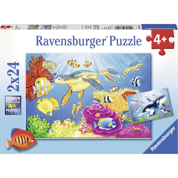 Ravensburger Colourful Underwater World Puzzle 2x24pc-RB07815-8-Animal Kingdoms Toy Store