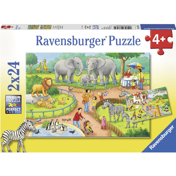 Ravensburger A Day at the Zoo Puzzle 2x24pc-RB07813-4-Animal Kingdoms Toy Store