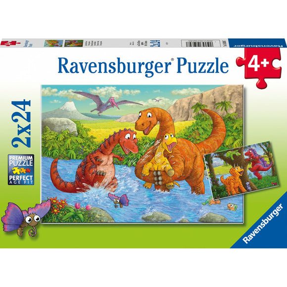 Ravensburger Dinosaurs at play 2x24pc-RB05030-7-Animal Kingdoms Toy Store