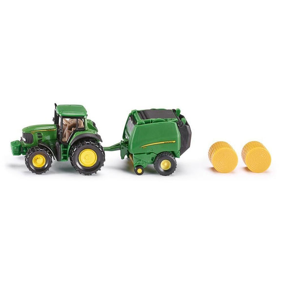 Siku John Deere 7530 Tractor with 990 Baler-SKU1665-Animal Kingdoms Toy Store