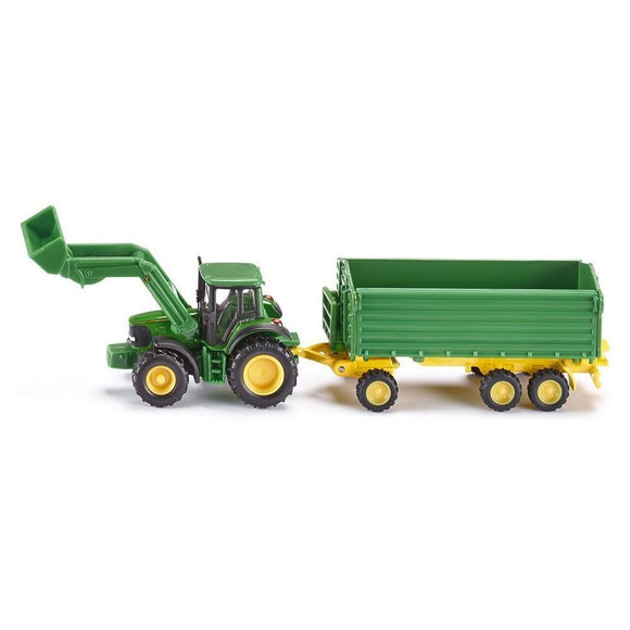 Siku 1:87 John Deere with F/Loader & Trailer-SKU1843-Animal Kingdoms Toy Store
