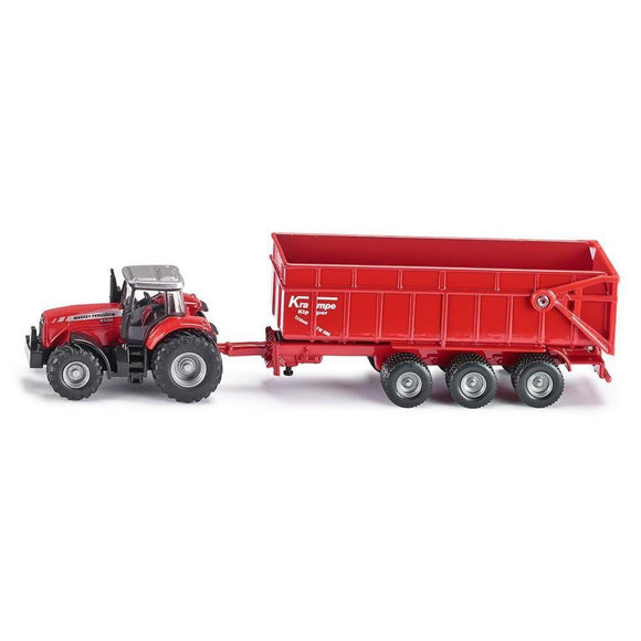 Siku 1:87 Massey Ferguson 8480 with Trailer-SKU1844-Animal Kingdoms Toy Store