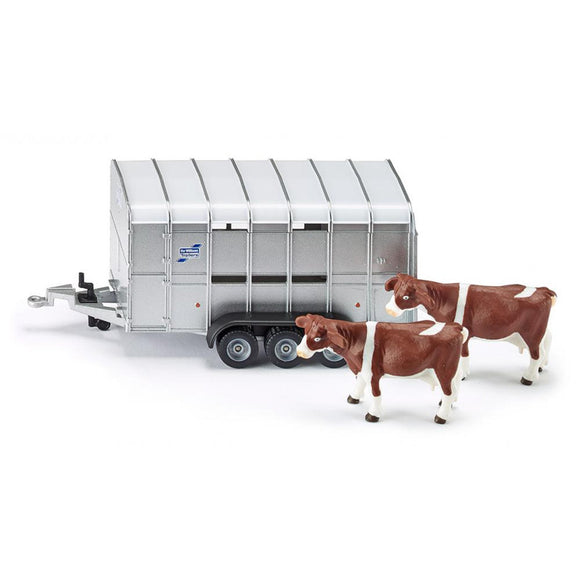 Siku 1:32 IFor-Williams Stock Trailer With 2 Cows-2890-Animal Kingdoms Toy Store