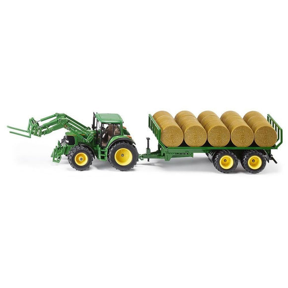 Siku 1:32 John Deere 6820 with Fork Loader & Trailer-SKU3862-Animal Kingdoms Toy Store