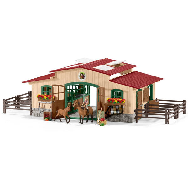 Schleich Stable with Horses and Accessories-42195-Animal Kingdoms Toy Store