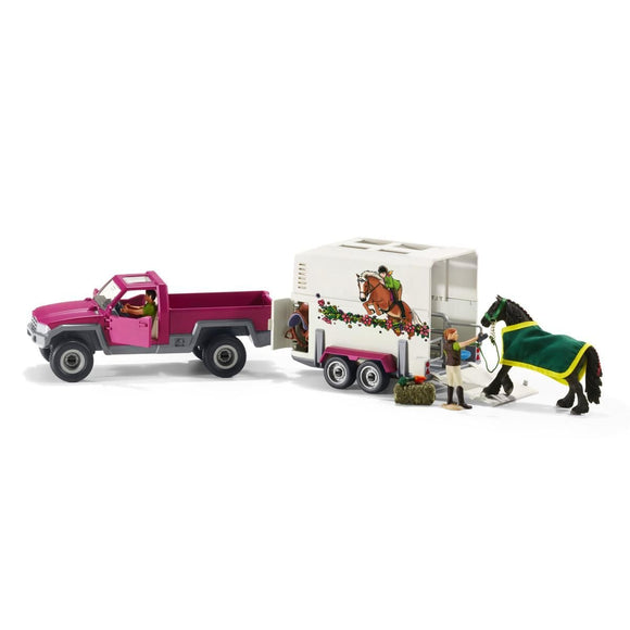 Schleich Pick Up with Horse Box-42346-Animal Kingdoms Toy Store