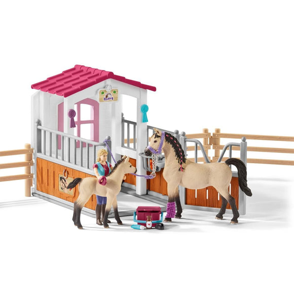 Schleich Horse Stall with Horses & Groom-42369-Animal Kingdoms Toy Store