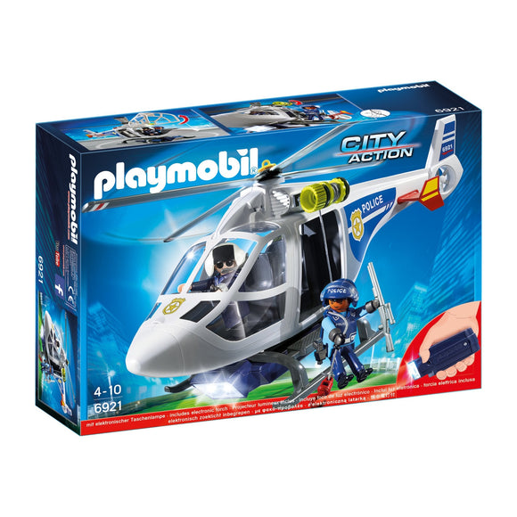 Playmobil City Action Police Helicopter with LED Searchlight-6921-Animal Kingdoms Toy Store