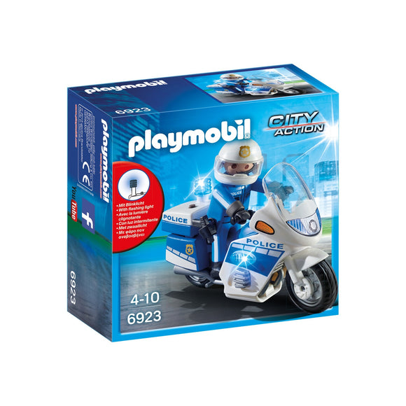 Playmobil City Action Police Bike with LED Light-6923-Animal Kingdoms Toy Store