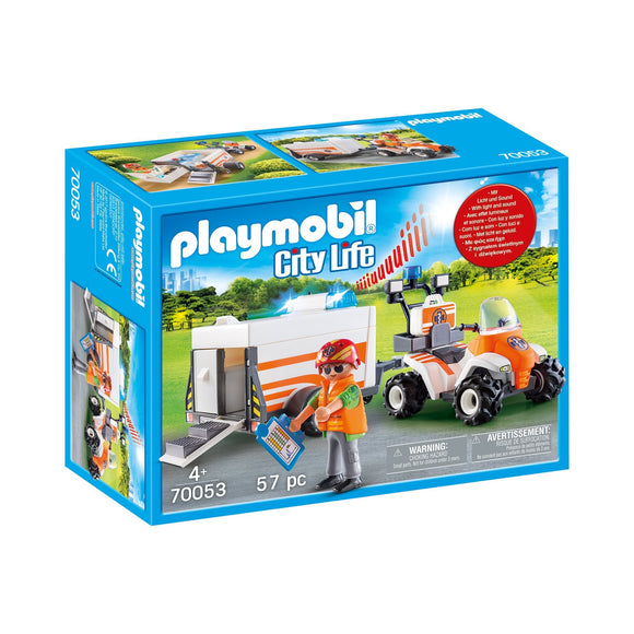 Playmobil Rescue Quad with Trailer-70053-Animal Kingdoms Toy Store