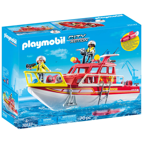 Playmobil City Life Fire Rescue Boat-70147-Animal Kingdoms Toy Store