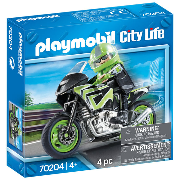 Playmobil City Life Motorcycle With Rider-70204-Animal Kingdoms Toy Store