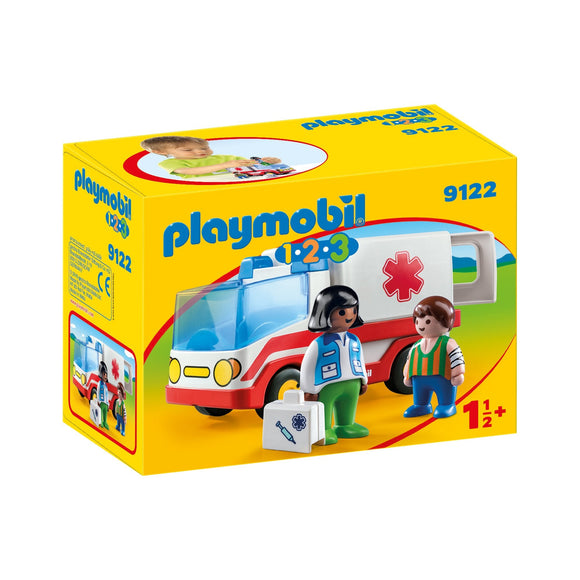 Playmobil 1.2.3 Rescue Ambulance-9122-Animal Kingdoms Toy Store