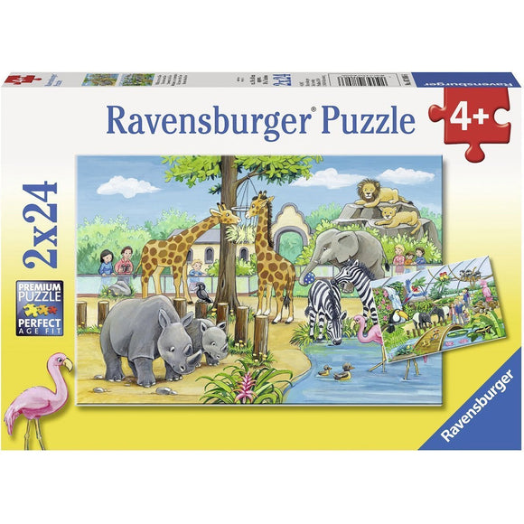 Ravensburger Welcome to the Zoo Puzzle 2 x 24 pc-RB07806-6-Animal Kingdoms Toy Store