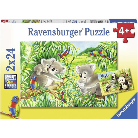 Ravensburger Sweet Koalas and Pandas Puzzle 2x24pc-RB07820-2-Animal Kingdoms Toy Store