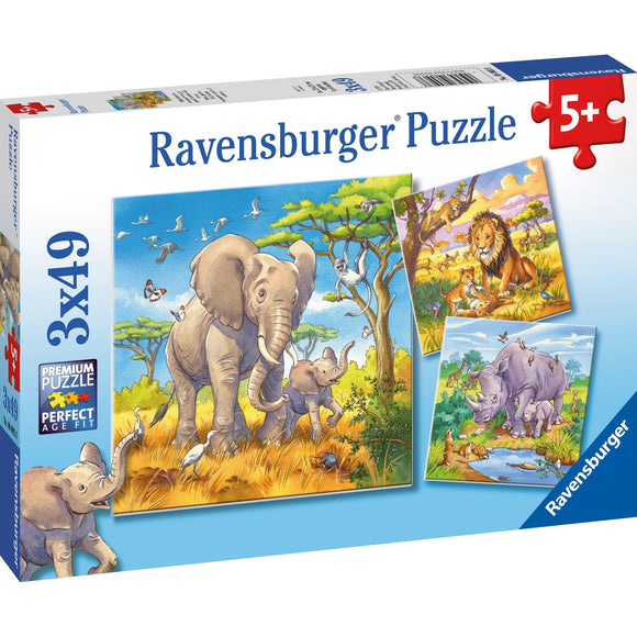 Ravensburger Wild Animals Puzzle 3x49pc-RB08003-8-Animal Kingdoms Toy Store