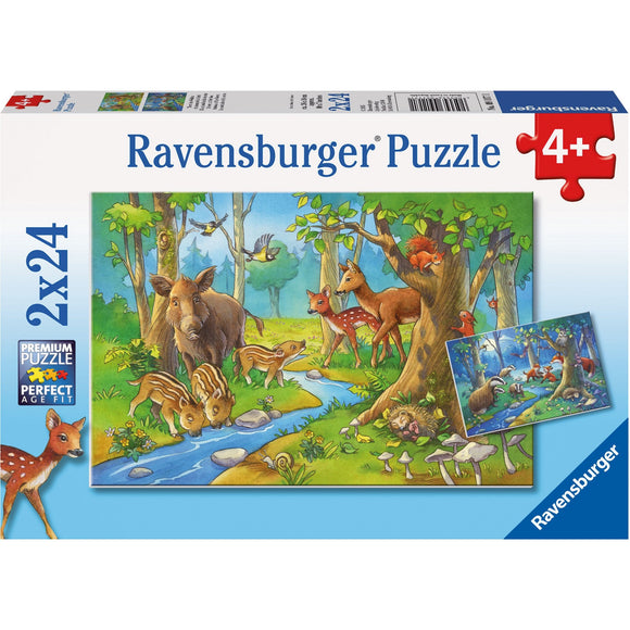 Ravensburger Cute Forest Animals Puzzle 2x24pc - AnimalKingdoms.co.nz