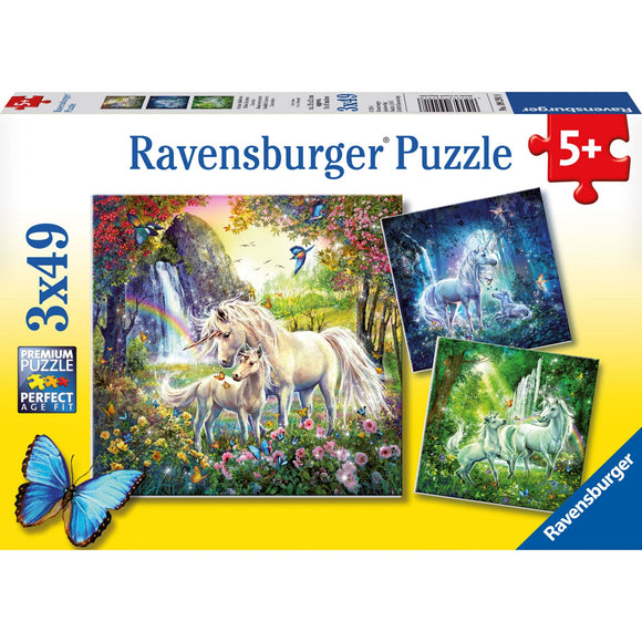 Ravensburger Beautiful Unicorns Puzzle 3x49pc-RB09291-8-Animal Kingdoms Toy Store