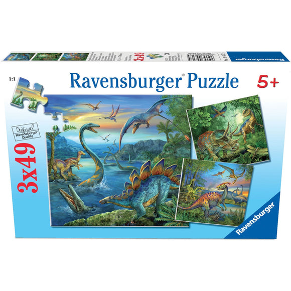 Ravensburger Dinosaur Fascination Puzzle 3x49pc-RB09317-5-Animal Kingdoms Toy Store