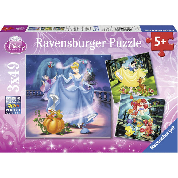 Ravensburger Disney Snow White Cinderella Ariel 3x49pc-RB09339-7-Animal Kingdoms Toy Store