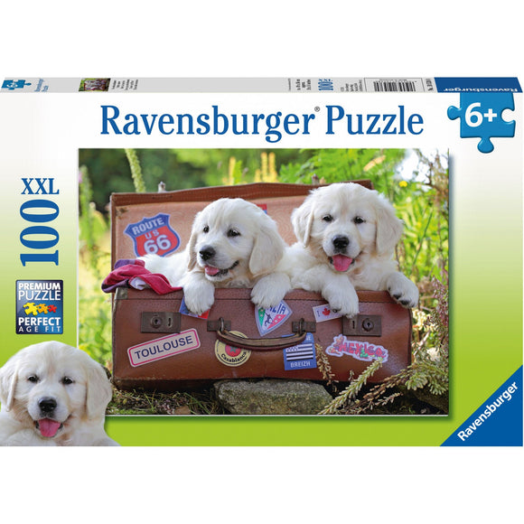 Ravensburger Travelling Puppies Puzzle 100pc-RB10538-0-Animal Kingdoms Toy Store