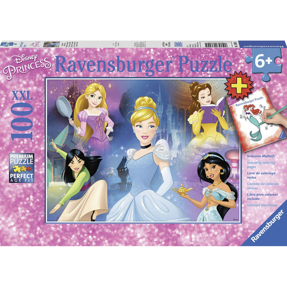 Ravensburger Disney Charming Princess plus colouring book 100pc-RB13699-5-Animal Kingdoms Toy Store