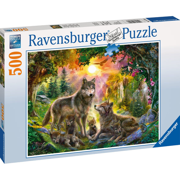 Ravensburger Wolf Family in Sunshine Puzzle 500pc - AnimalKingdoms.co.nz