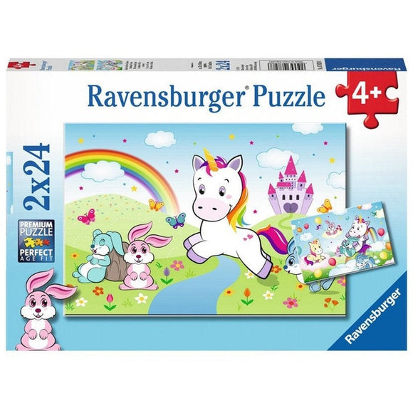 Ravensburger Puzzle Fairytale Unicorn 2 x 24pc-RB07828-8-Animal Kingdoms Toy Store